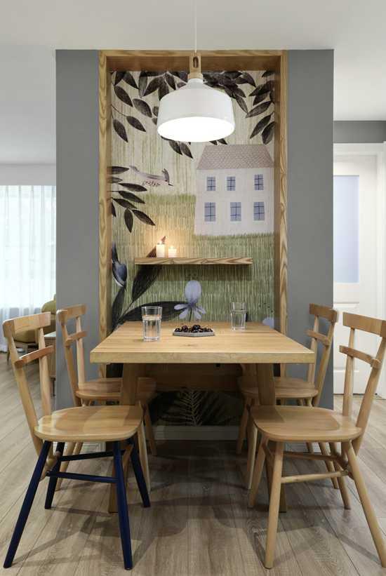 餐厅背景作入户端景,这套100㎡温馨北欧3居室,进门就美翻了!